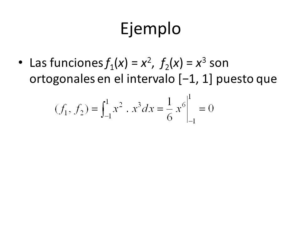 Ejemplo Las funciones f1(x) = x2, f2(x) = x3 son ortogonales en el intervalo [−1, 1] puesto que